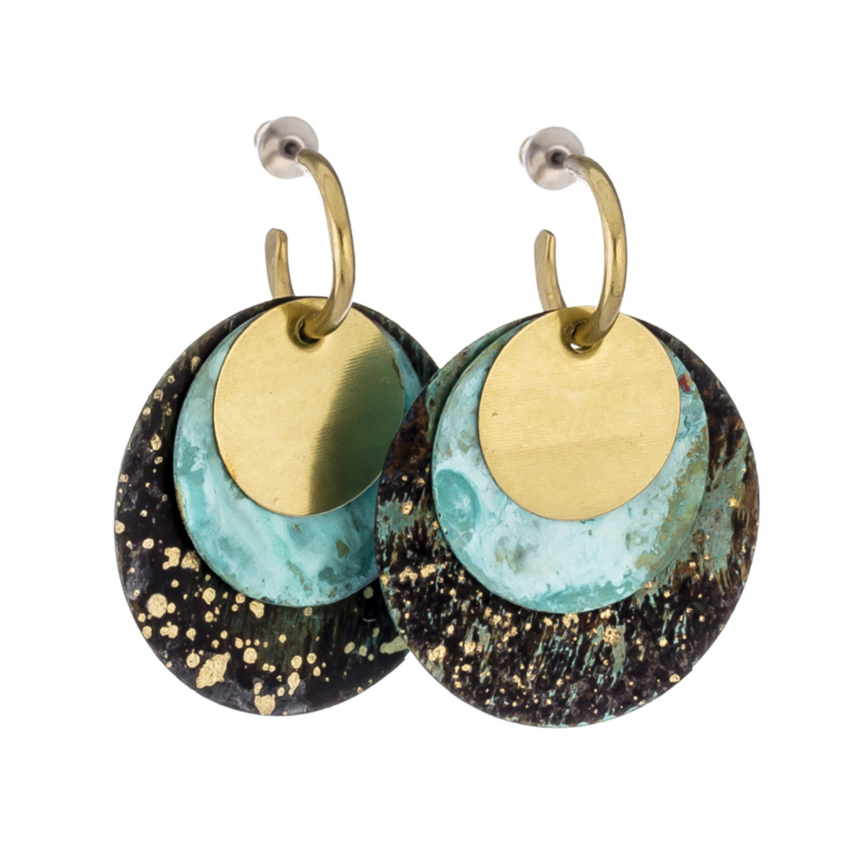 Amazonia layered disc stud earrings by Sibilia