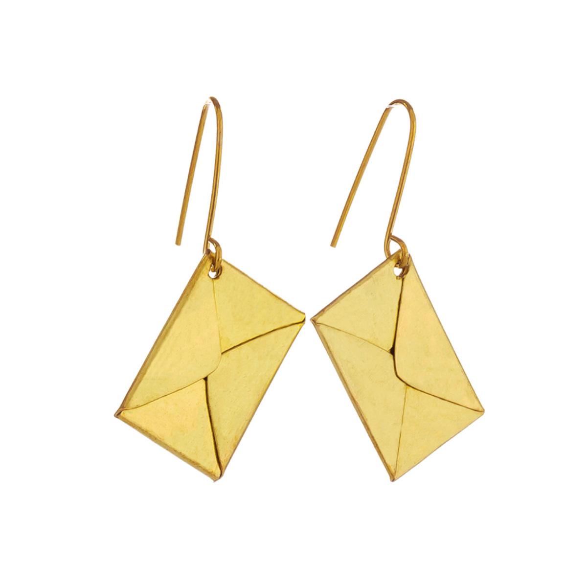 Brass letters hook earrings by Sibilia