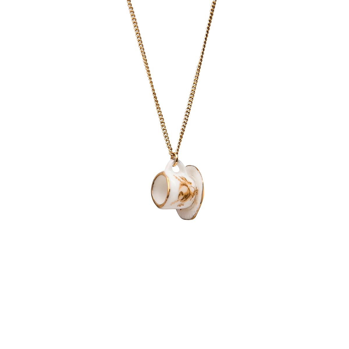 Teacup necklace on gold-coloured chain by And Mary - assorted