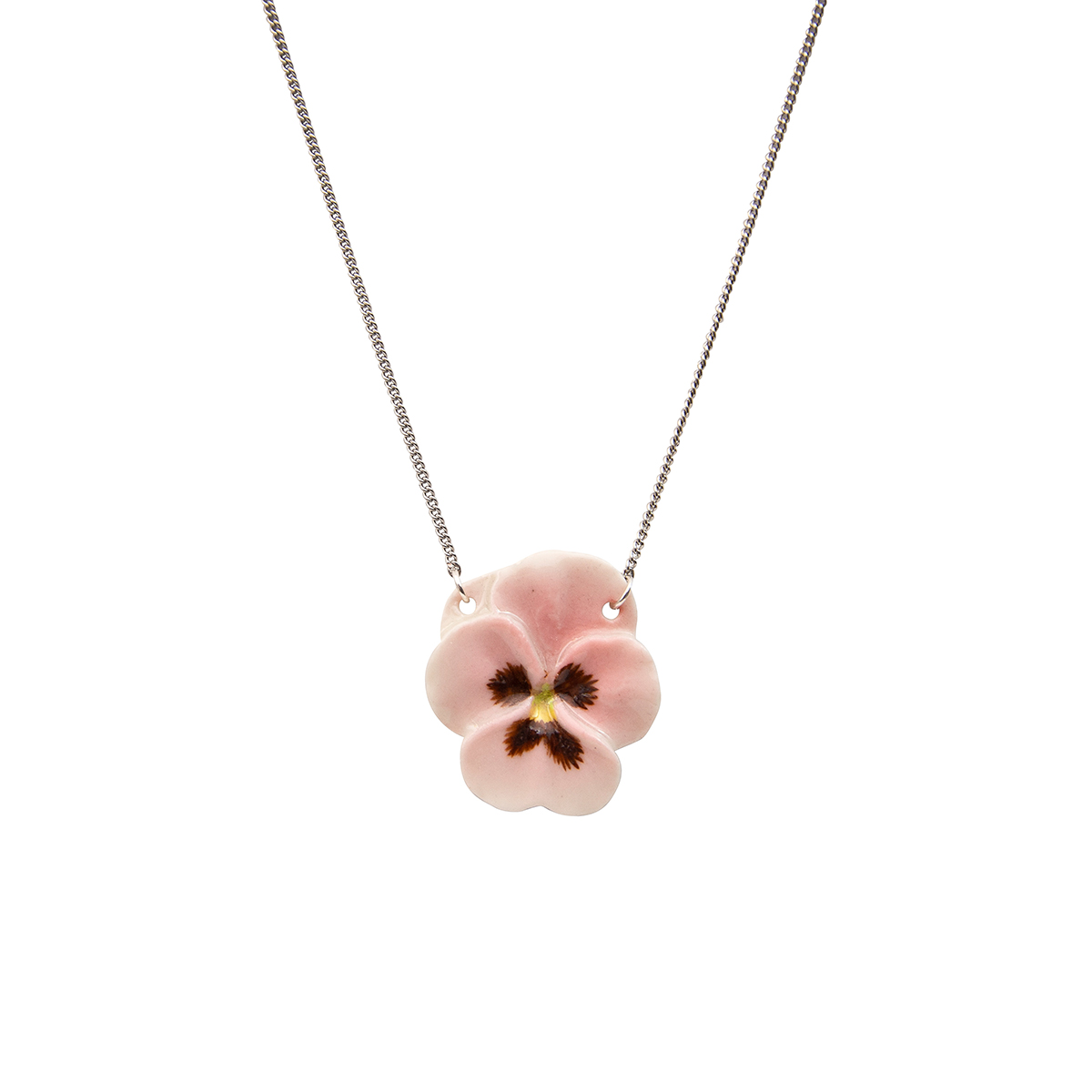 Pink pansy necklace by And Mary