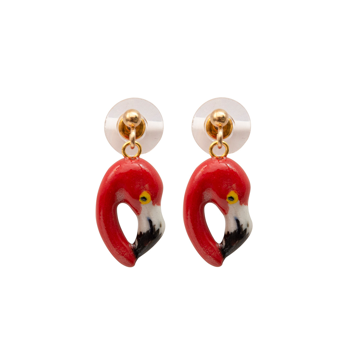 Hot pink flamingo stud earrings by And Mary