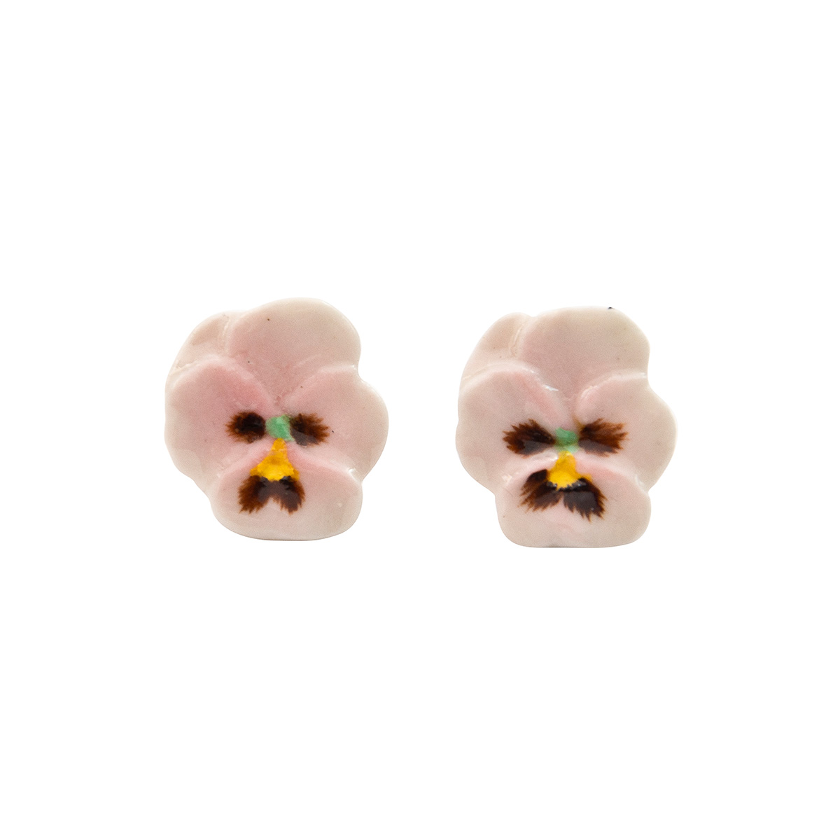 Pink pansy stud earrings by And Mary