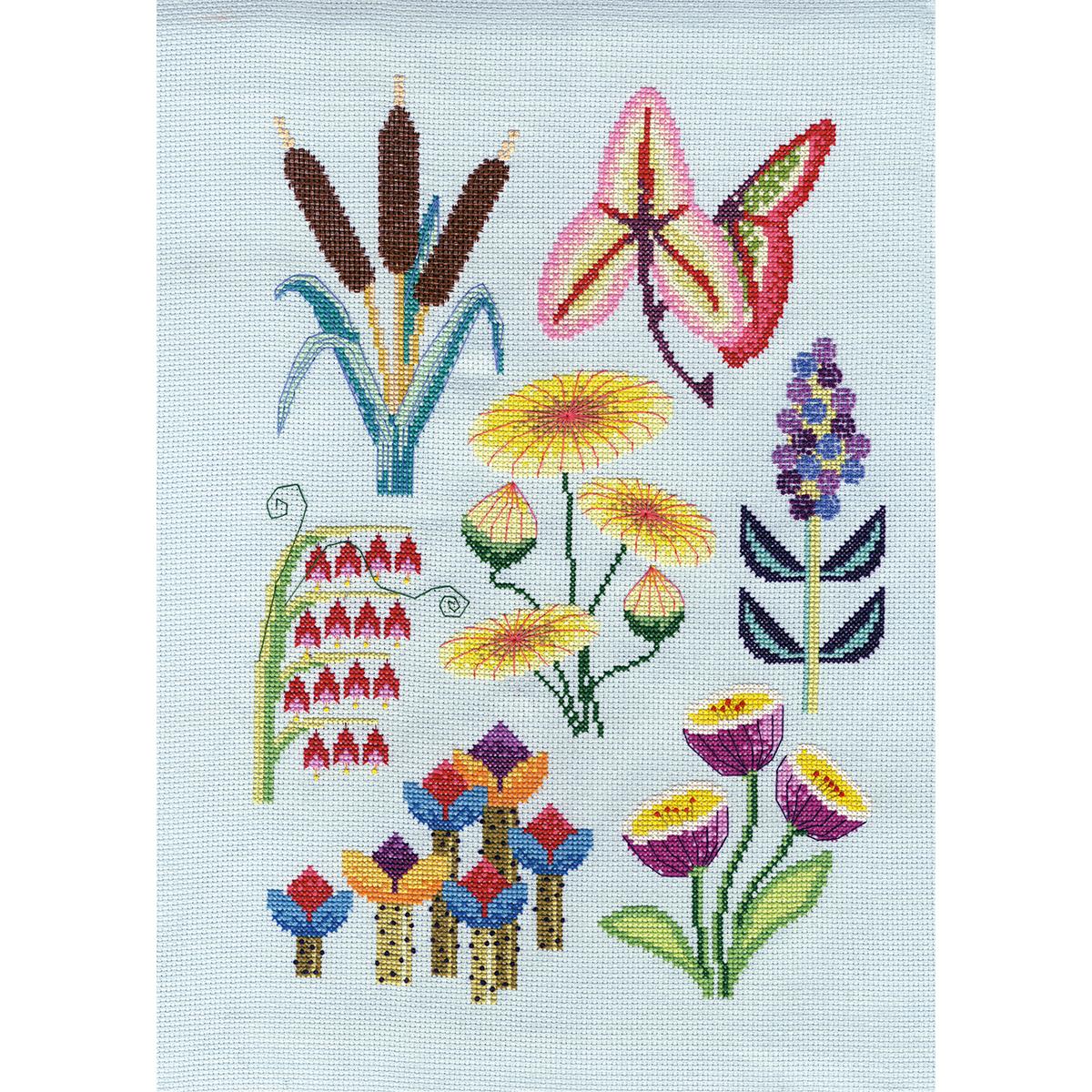 Seaside botanical cross stitch kit by Emily Peacock