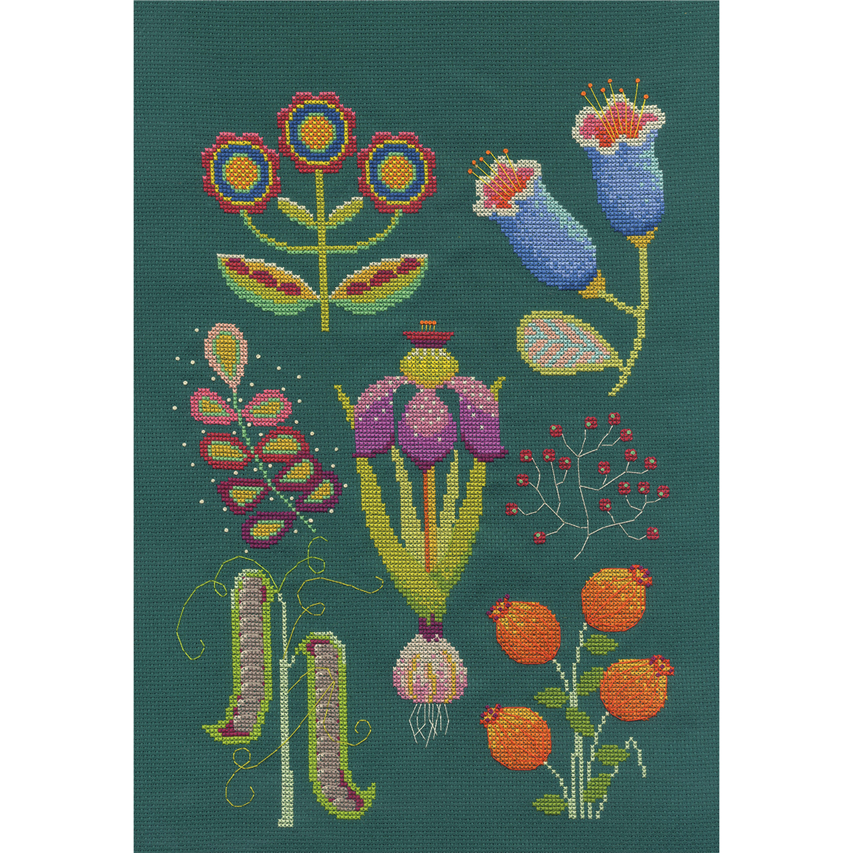 Garden botanical cross stitch kit by Emily Peacock
