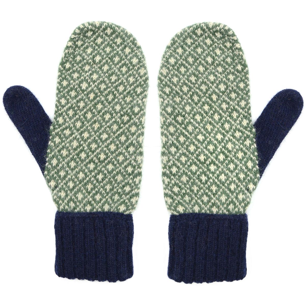 Navy and green intarsia mittens by Santacana
