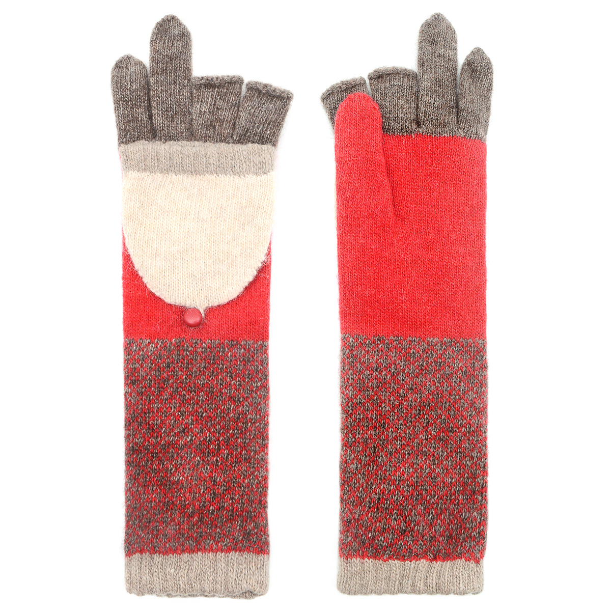 Red and green long flap gloves by Santacana