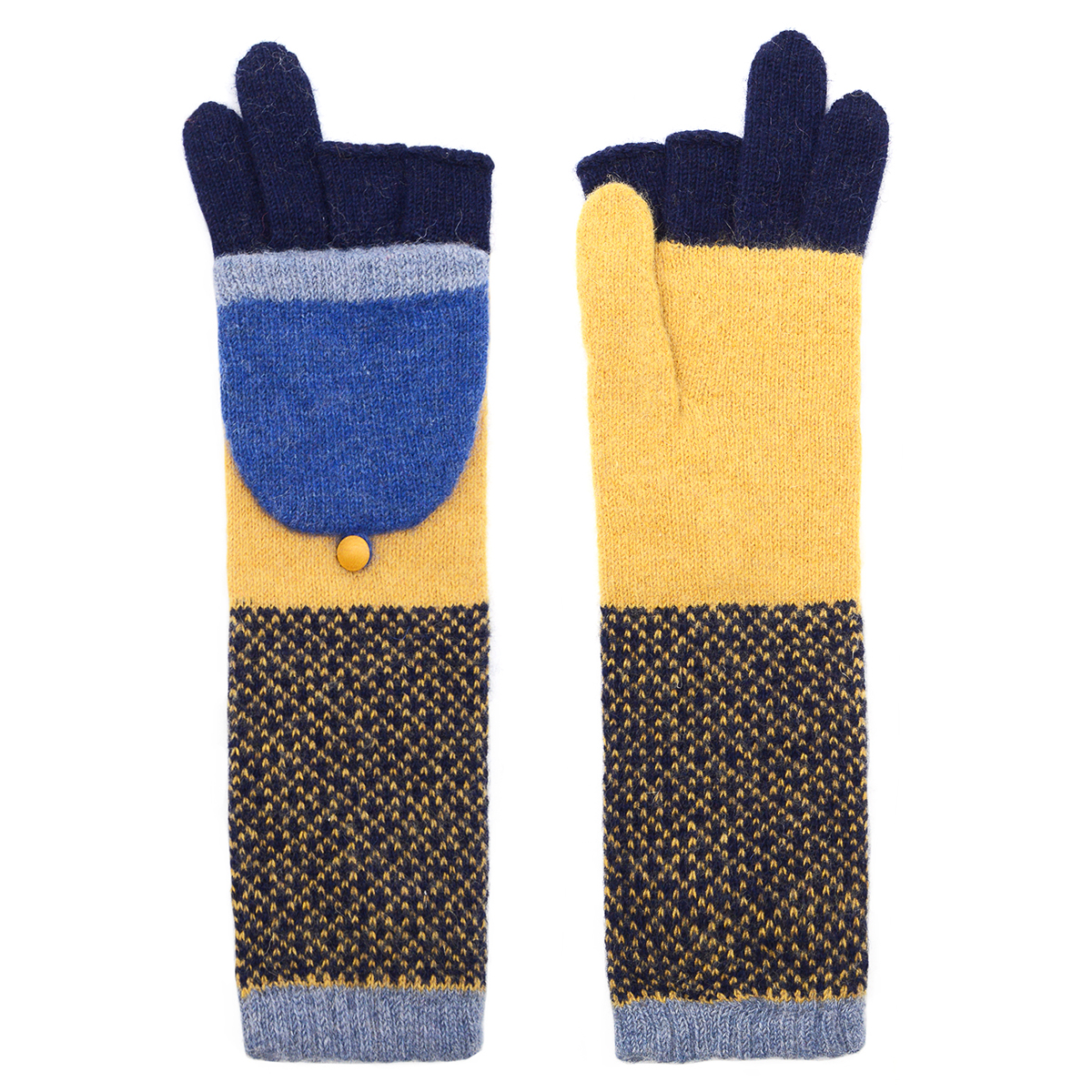 Yellow and blue long flap gloves by Santacana