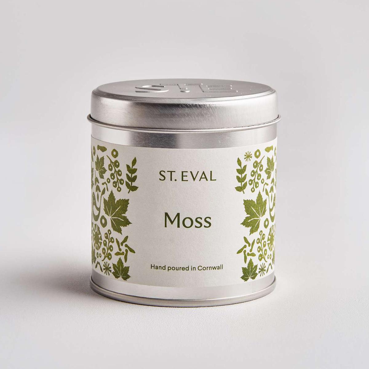 Moss tin candle