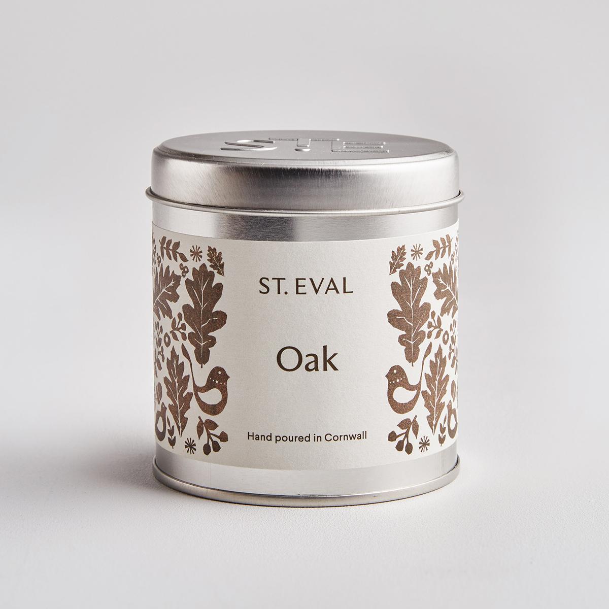 Oak tin candle