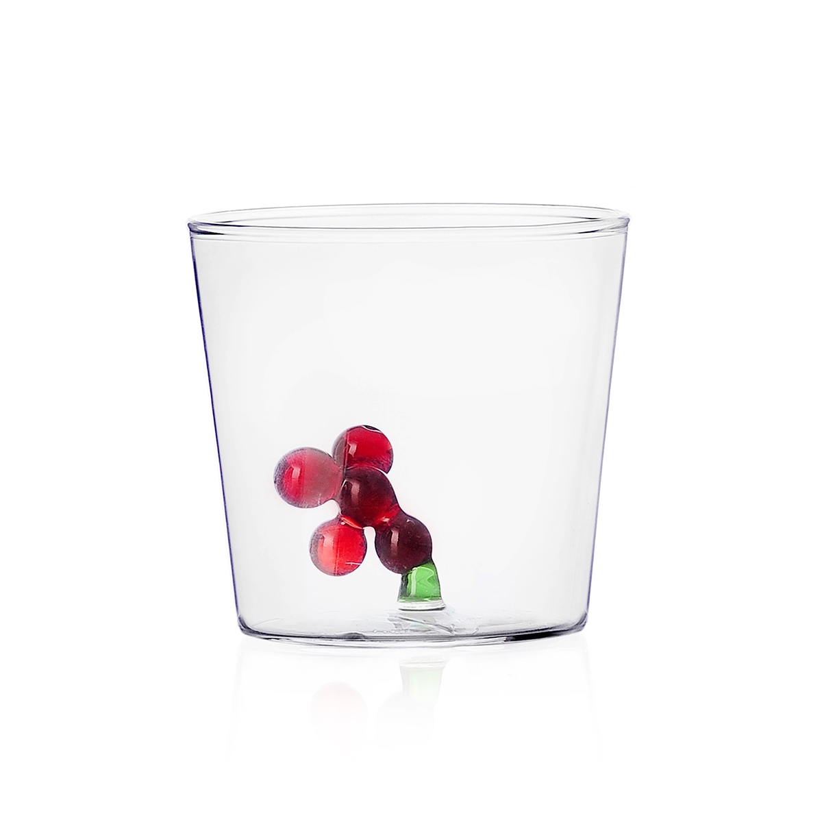Red berries tumbler glass by Ichendorf Milano