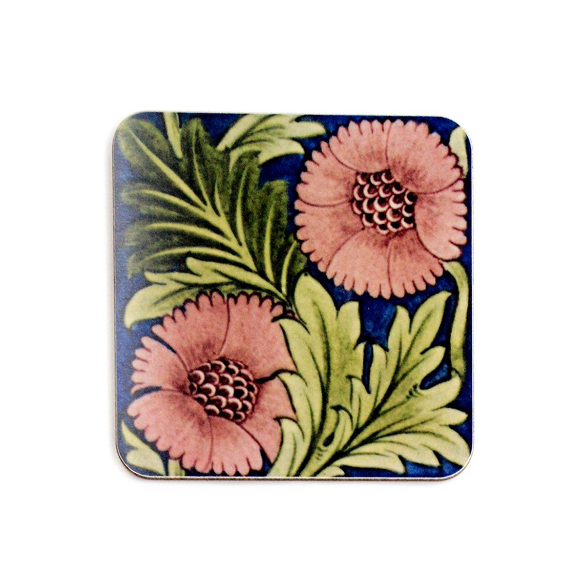William De Morgan pink flowers coaster