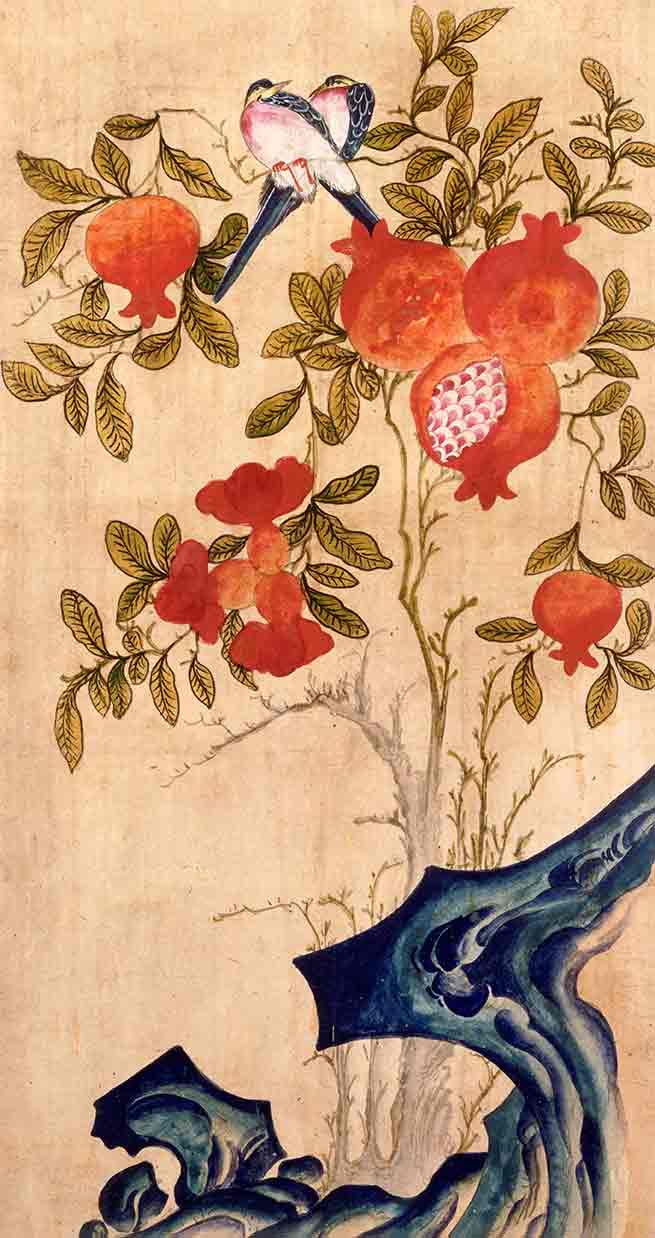 Pomegranates and birds screen panel (custom print)