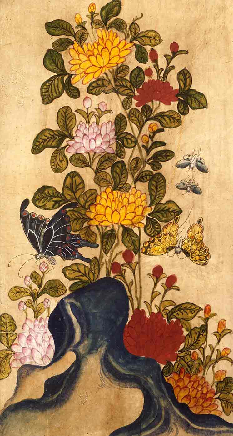 Chrysanthemums and butterflies screen panel (custom print)