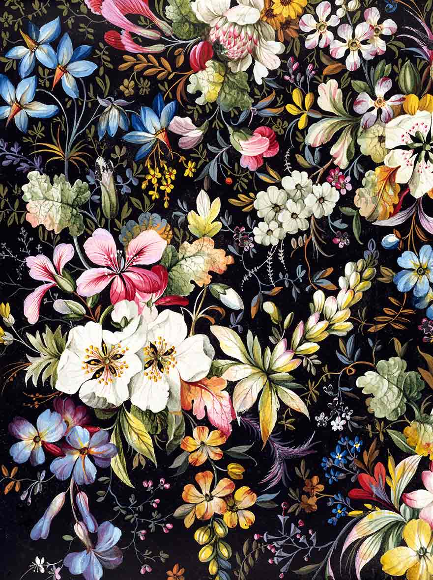 Design for textile with variety of flowers in different shapes and sizes (custom print)