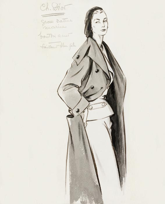 Christian Dior Suit And Overcoat Fashion Illustration