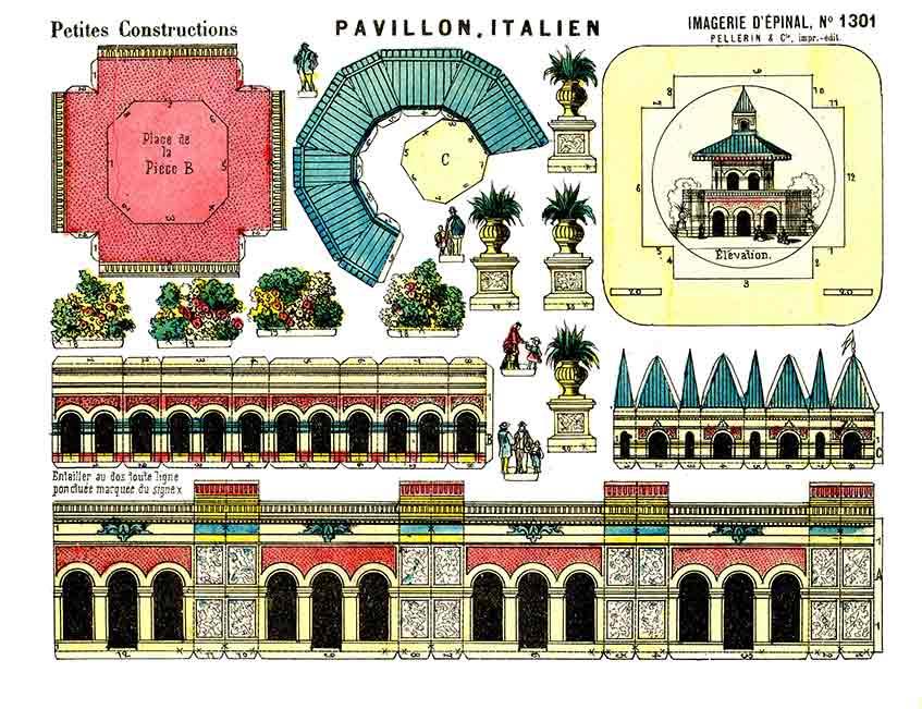 Pavillon Italien paper model (custom print)