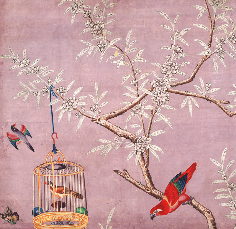Wallpaper With Birds On Branch In Cage And In Flight Custom Print