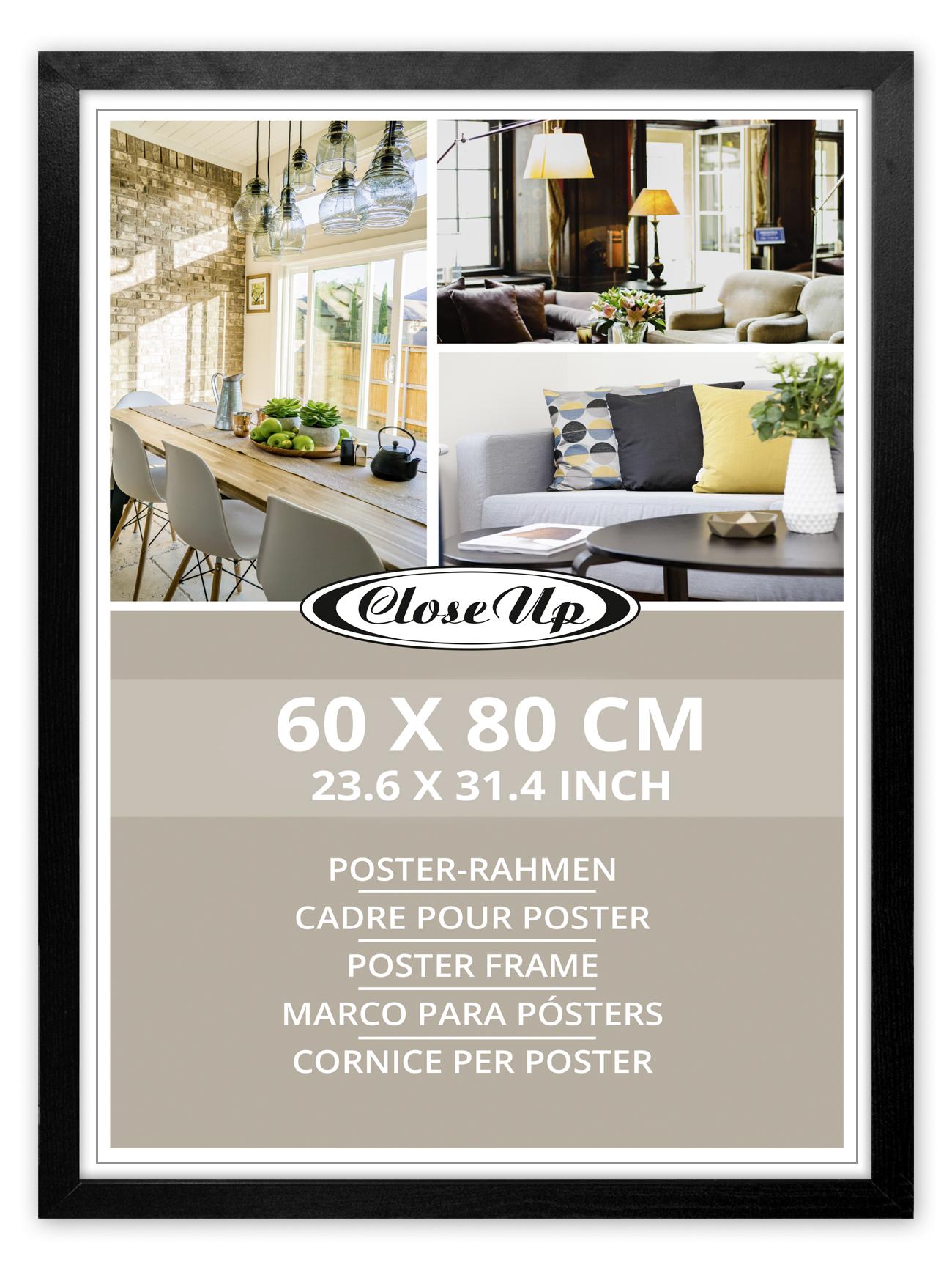 posterrahmen 60 x 80 cm premium bilderrahmen mdf holzdekor schwarz profi rahmen ebay. Black Bedroom Furniture Sets. Home Design Ideas