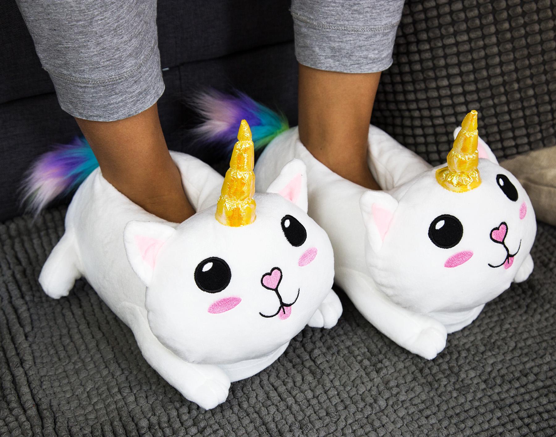 Details zu Catcorn Plüsch Hausschuhe Winter Pantoffeln Puschen bequem, Cat Geschenk Unise