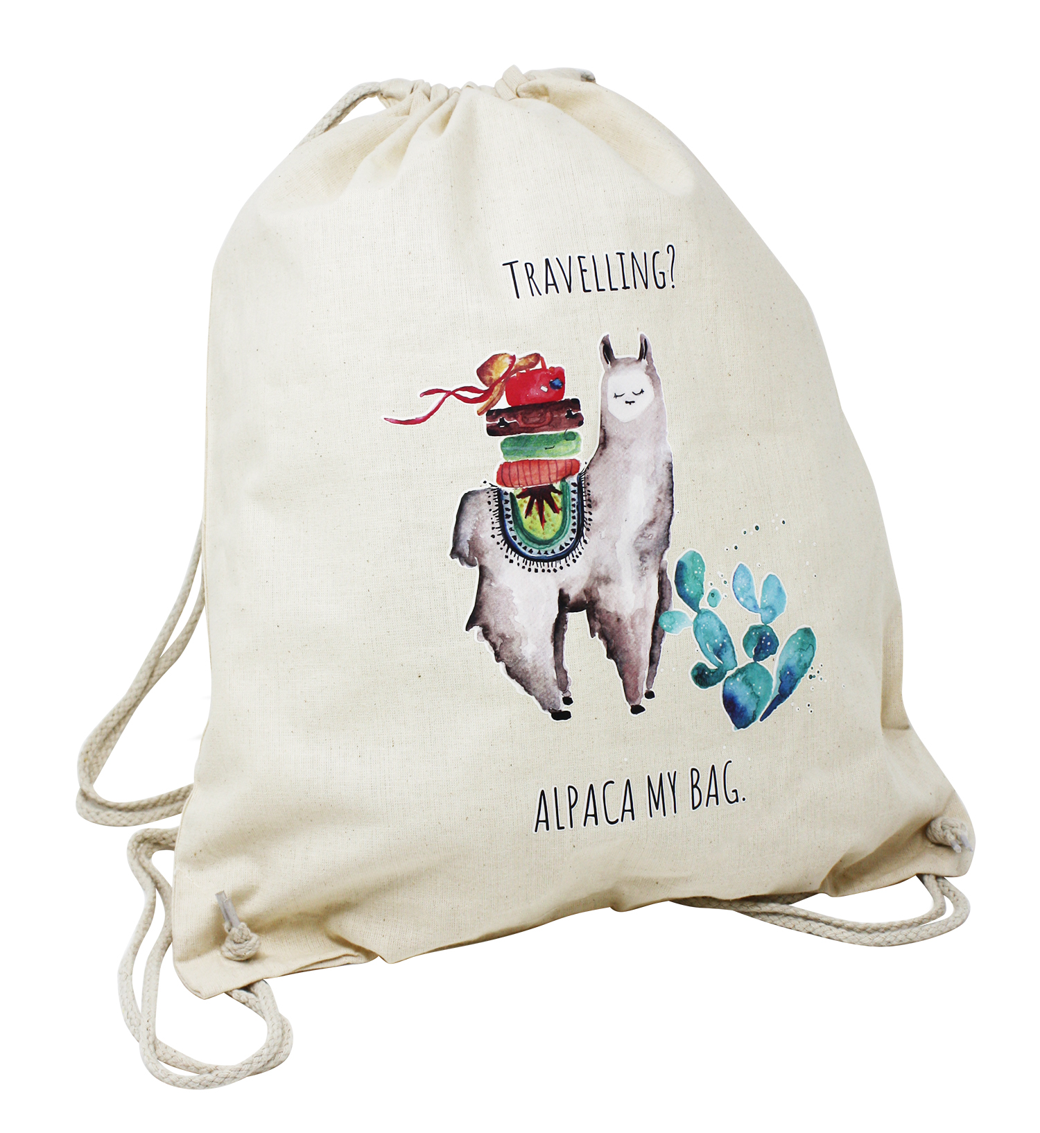 3a7ad1a4fba71 Alpaka Turnbeutel Alpaca My Bag - Reisen Hipster Beutel Jutebeutel ...