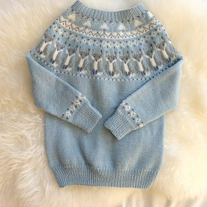 """Bluum strikkegenser - """"Reve-genseren"""" Blå Strikk 2 år"""