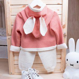 Bluum strikkesett - bukse og hettejakke med ører - i Zarina