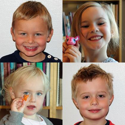 Sander (4 år), Hermine (5 år), Rikke (3 år) og David (5 1/2 år). Foto: Marie H. Horvei