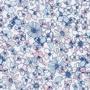 """MIKA romper i mønster """"Blomstereng"""" - rosa"""