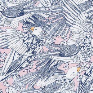 "ELAH sett i mønster ""Fuglerede"" - pudderrosa"