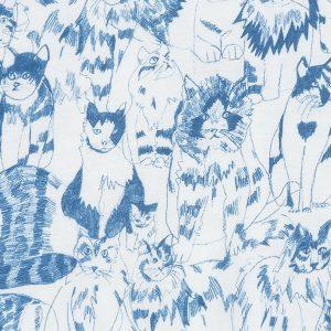 """EIKE kjole i mønster """"Pusekatt"""" - blekkblå"""