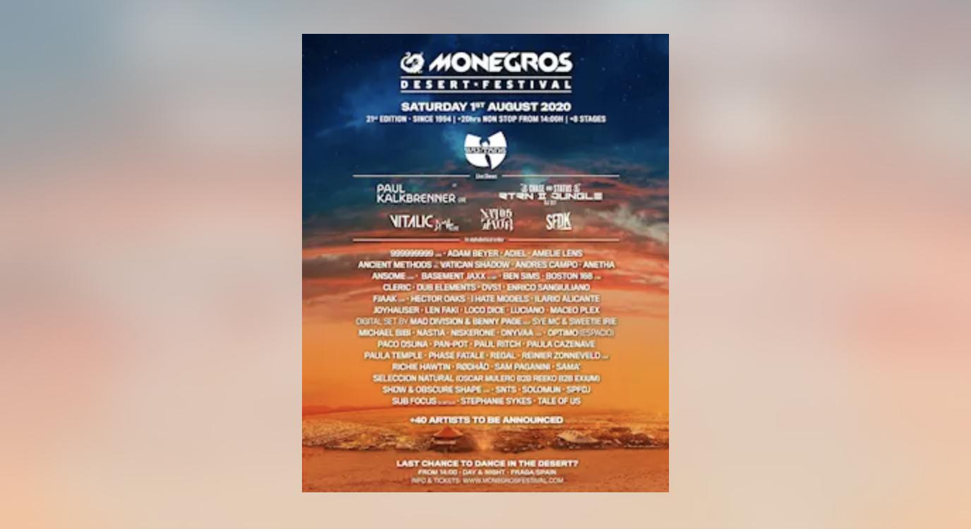 Wu Tang Clan, Vitalic y SFDK se unen a Paul Kalkbrenner, Natos & Waor o Richie Hawtin en Monegros Desert Festival