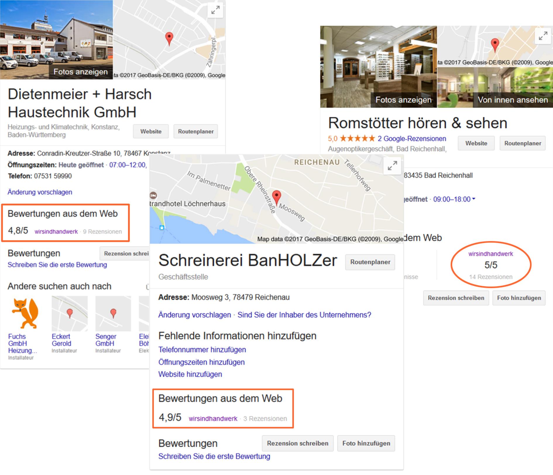 Google MyBusiness Card, Bewertungen, Unternehmensprofil