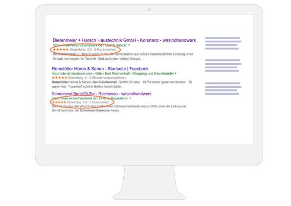 Handwerkerprofil in den google Suchergebnissen
