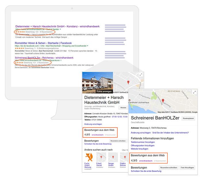 Google Suchergebnisse mit MyBusiness Card, Handwerkerprofil