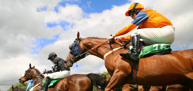 Ascot racecourse horses mid race