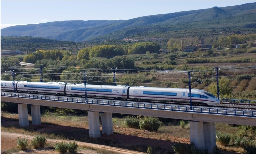 An AVE train travelling through the Spanish countryside