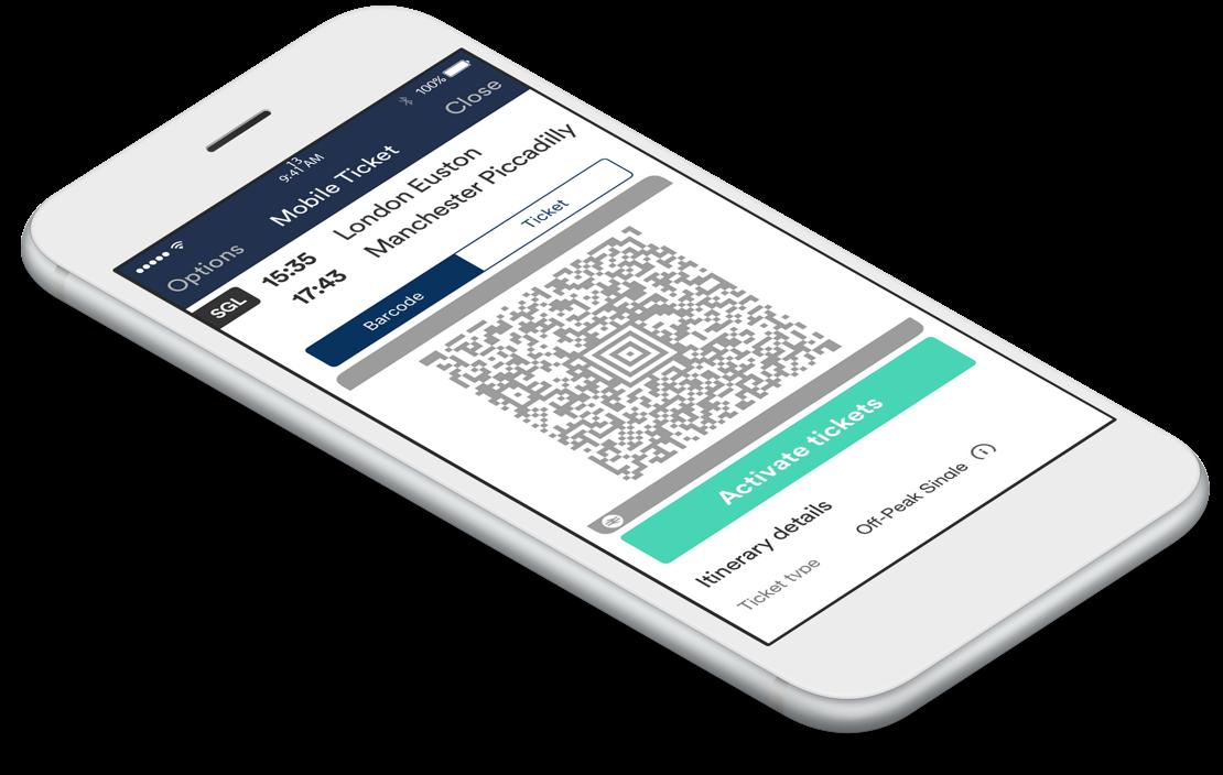 Trainline app, mobile tickets