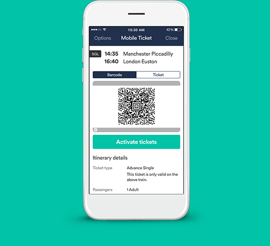 Mobile train tickets on your phone.