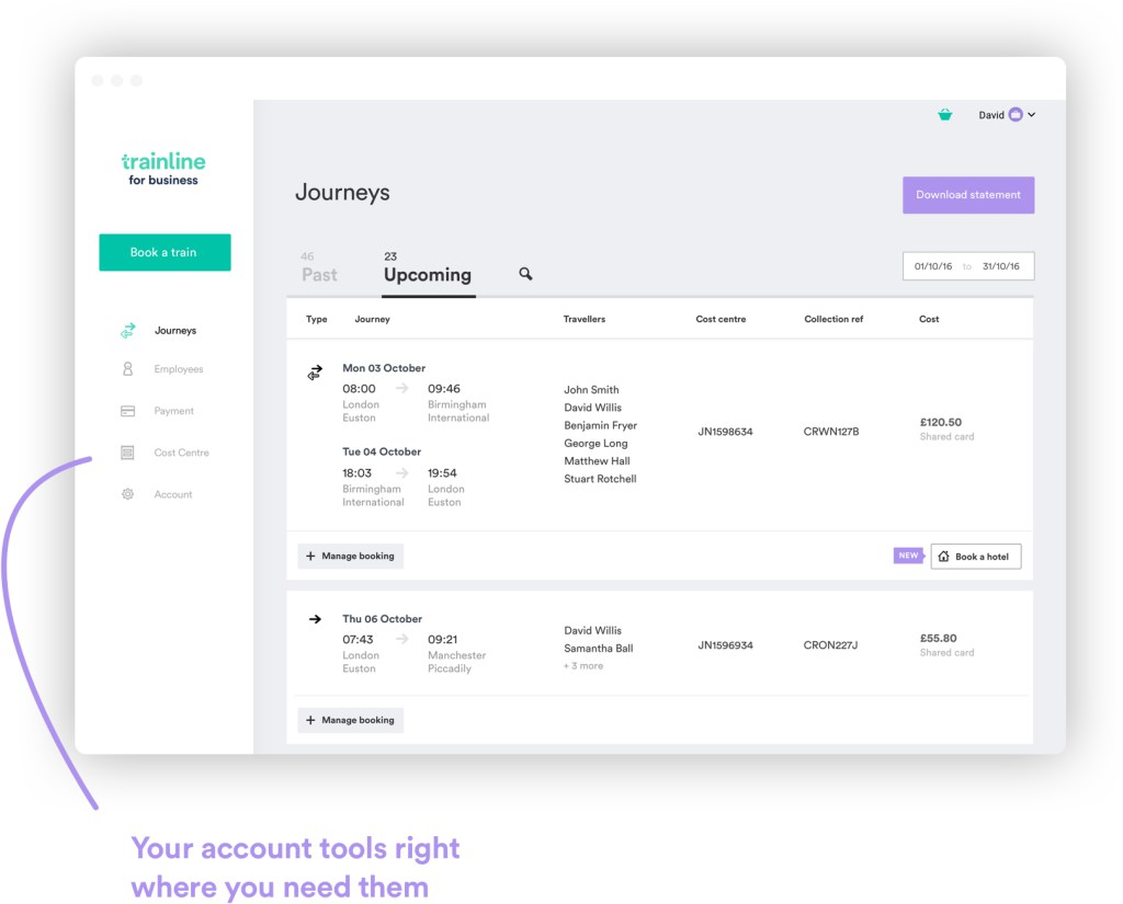 Trainline business account console