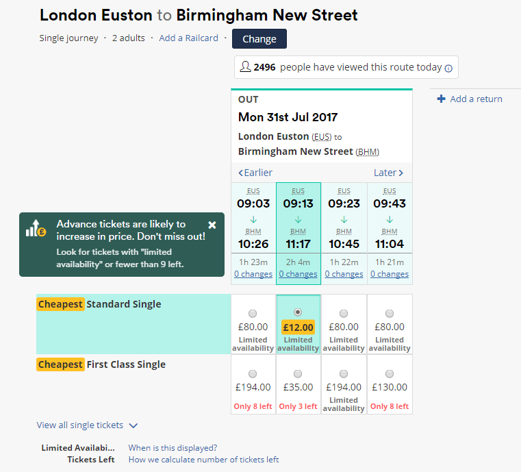 Cheapest ticket with Trainline