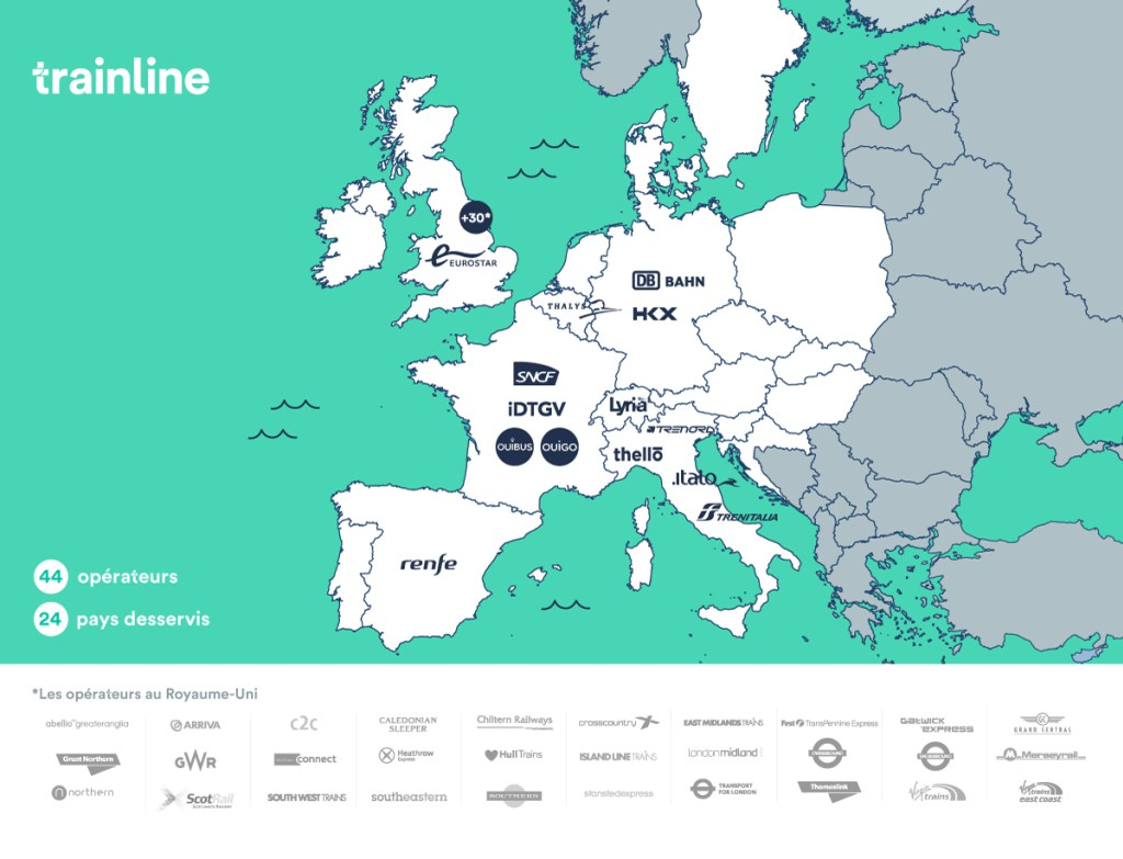 Trainline Europe map