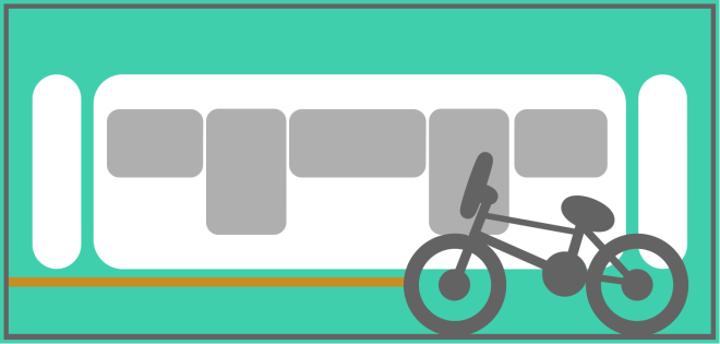 Locating the cycle carriage on a train.