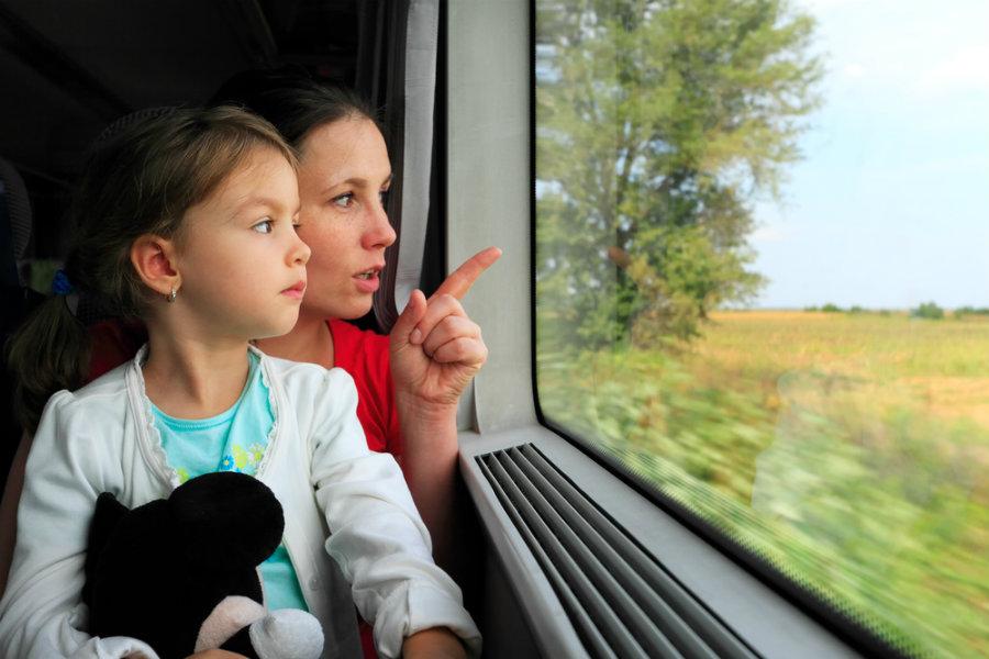 con bambini in treno