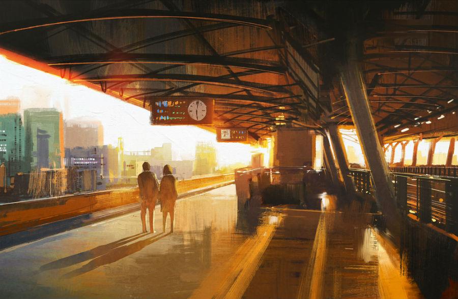 dipinto di una stazione