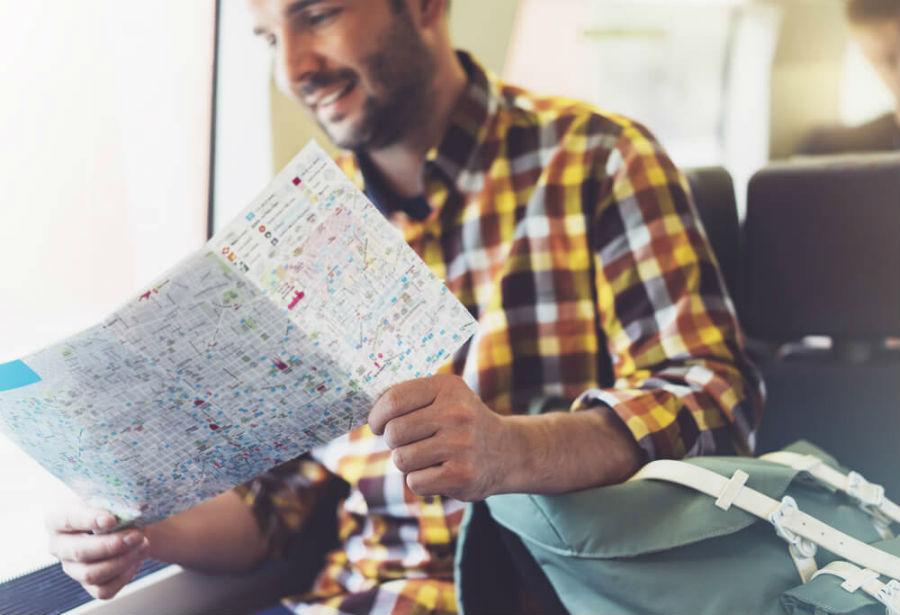 guardare la mappa in treno