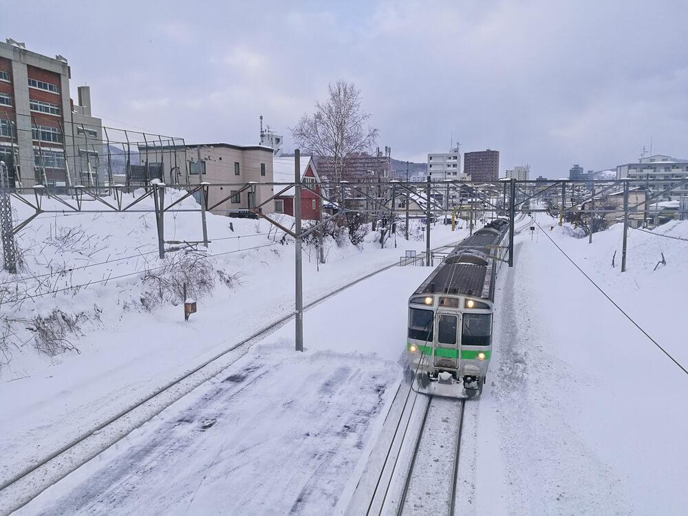 Train japonais sous la neige