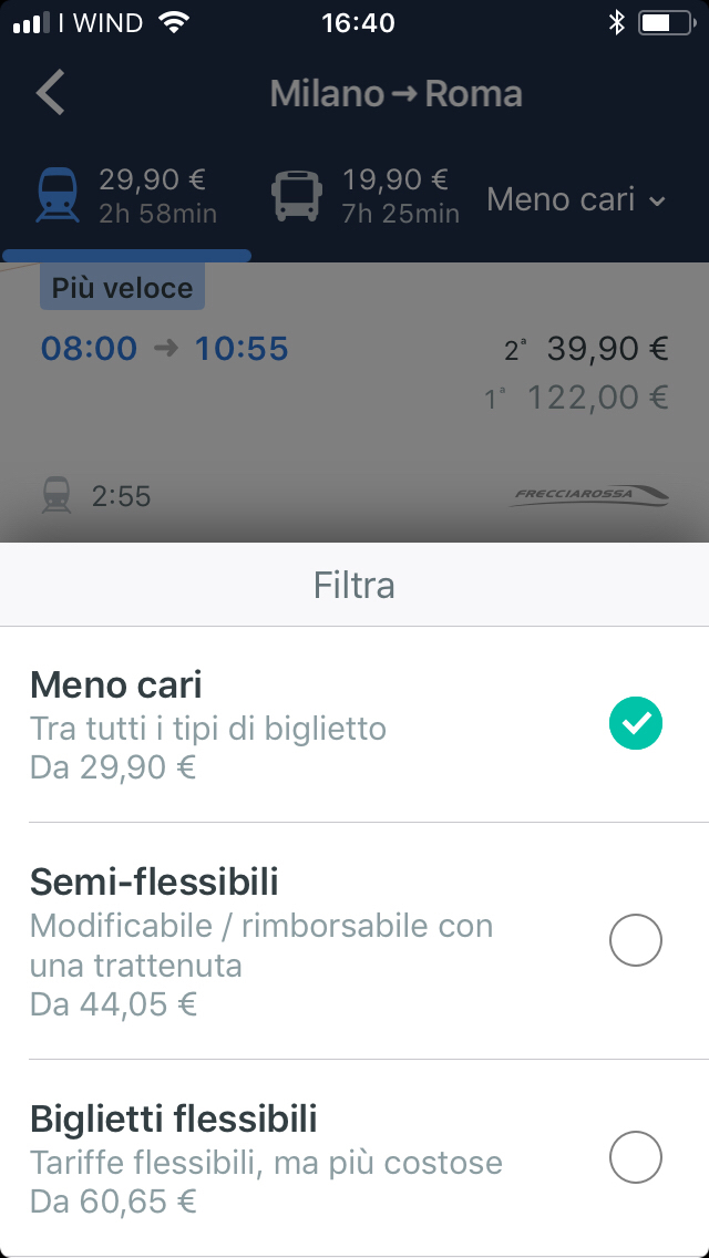 screenshot trainline filtro meno cari