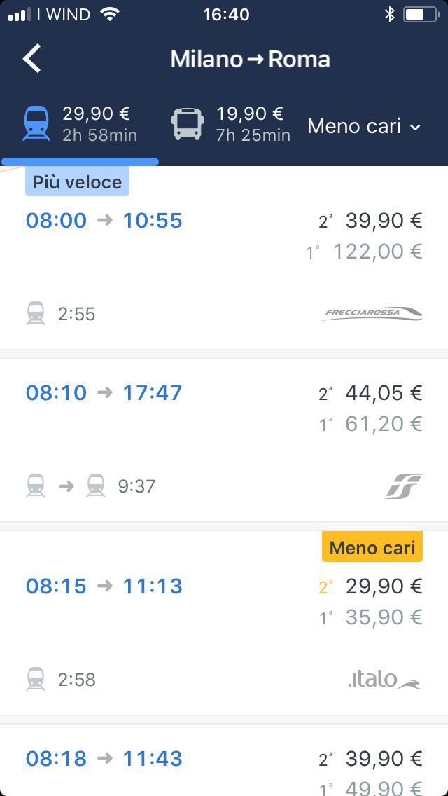 screenshot trainline biglietti meno cari
