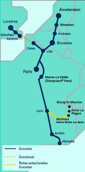Mapa Eurostar
