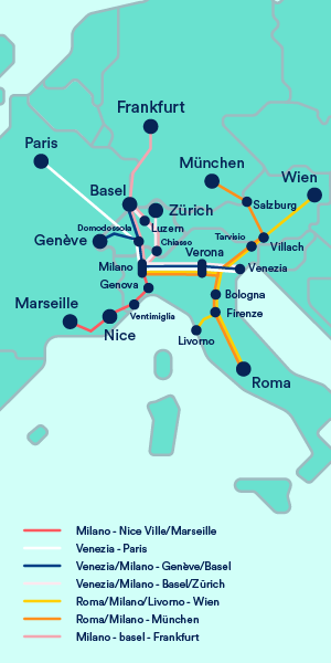 International Train Map from Italy